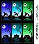 halloween cards set with cat or ... | Shutterstock .eps vector #320907653