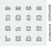 Buildings vector icon set in thin line style | Shutterstock vector #320916308