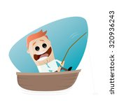 funny businessman on a boat... | Shutterstock .eps vector #320936243
