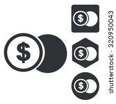 dollar coin icon set ...