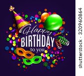 vector birthday card with... | Shutterstock .eps vector #320960864