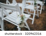 white chairs decorated with... | Shutterstock . vector #320962316