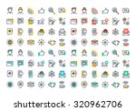 flat line colorful icons...   Shutterstock .eps vector #320962706