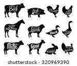 Stock vector set of butchery logo templates farm animals with sample text retro styled farm animals 320969390