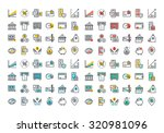 flat line colorful icons... | Shutterstock .eps vector #320981096