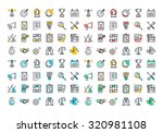 flat line colorful icons... | Shutterstock .eps vector #320981108