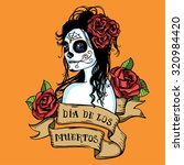 hand drawn day of dead mexican... | Shutterstock .eps vector #320984420