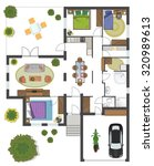 colorful floor plan of a house. | Shutterstock .eps vector #320989613