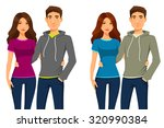 young happy couple in casual... | Shutterstock .eps vector #320990384