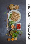 group of indian spices and... | Shutterstock . vector #320992280