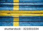 Sweden Flag On Retro Wood