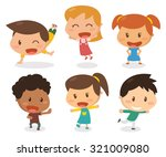 kids in actions. | Shutterstock .eps vector #321009080