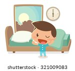 kid wake up in the morning. | Shutterstock .eps vector #321009083
