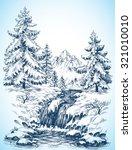 winter snowy landscape  pine... | Shutterstock .eps vector #321010010