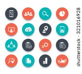 16 business round flat icons...