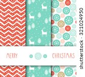 Creative Hand Drawn textures. Set of vector seamless patterns. For Christmas, wedding, birthday, anniversary, Valentine's day, party invitations. Turquoise and Pink. Snow. Chevron. Deer.