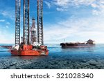 oil rig and tanker on offshore... | Shutterstock . vector #321028340