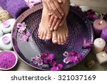 female feet at spa pedicure... | Shutterstock . vector #321037169