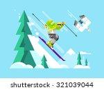 Cartoon Character Skier. Sport...