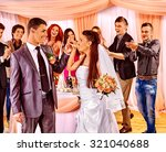 happy group people at wedding... | Shutterstock . vector #321040688