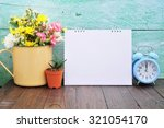 blank calendar and alarm on... | Shutterstock . vector #321054170