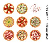 set of different pizza types... | Shutterstock .eps vector #321055373