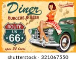 Stock vector diner route vintage poster 321067550