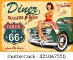 diner  route 66 vintage poster | Shutterstock .eps vector #321067550