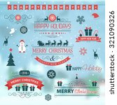 christmas set labels emblems on ... | Shutterstock .eps vector #321090326