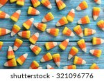 Halloween Candy Corns On Blue...