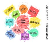 speech bubbles with hashtags.... | Shutterstock .eps vector #321106454
