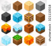 3d flat isometric mine cubes hd ... | Shutterstock .eps vector #321110018