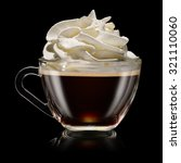 A cup of coffee with whipped cream on the black background - stock photo