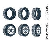 six wheels in different... | Shutterstock .eps vector #321121358