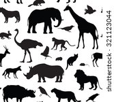 Animals Silhouette Seamless...