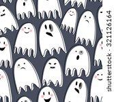 cute spooky ghosts on dark... | Shutterstock .eps vector #321126164