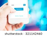 hand holding mobile phone with... | Shutterstock . vector #321142460