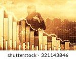 double exposure of crisis... | Shutterstock . vector #321143846