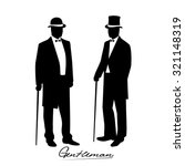 silhouette of a gentleman in a... | Shutterstock .eps vector #321148319