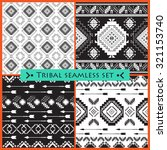 set of 4 ethnic seamless... | Shutterstock .eps vector #321153740