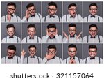 collage of young hipster man... | Shutterstock . vector #321157064