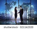 business hand shake over world... | Shutterstock . vector #321162320