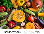 Fresh Vegetables On A Dark...