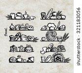 bakery on shelves  sketch for... | Shutterstock .eps vector #321183056