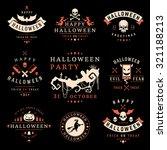 set vintage happy halloween... | Shutterstock .eps vector #321188213