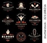 set vintage happy halloween...   Shutterstock .eps vector #321188216