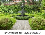 Nature Background. Fountain In...
