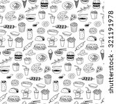 fast food seamless hand drawn... | Shutterstock .eps vector #321191978
