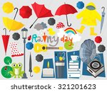 rainy day illustration umbrella ... | Shutterstock .eps vector #321201623
