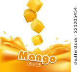 vector juicy mango slices... | Shutterstock .eps vector #321205454